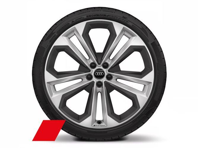 """5-dobbelteget moduldesign m. elementer i strukturgrå (8,5J x 21""""), Audi Sport"""