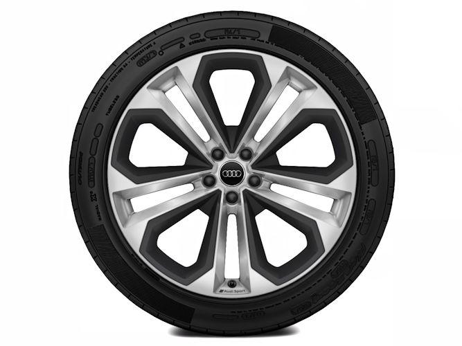 """5-dobbelteget moduldesign m. elementer i mat strukturgrå (9,5J x 21""""), Audi Sport"""