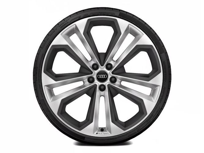 """5-dobbelteget moduldesign m. elementer i mat strukturgrå (8,5J x 21""""), Audi Sport"""