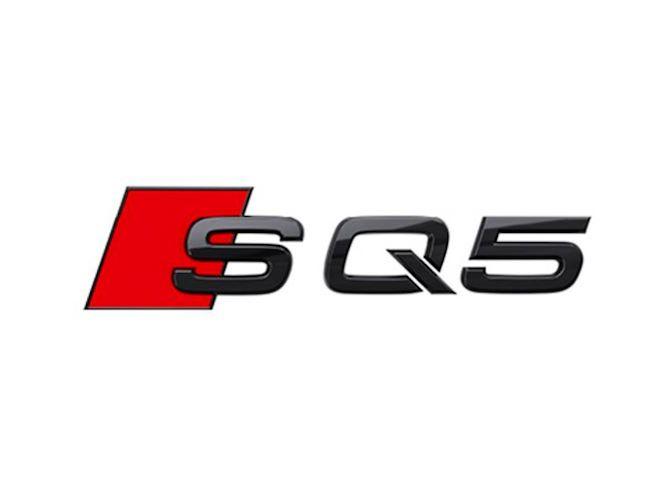 SQ5 logo i sort højglans til bagklap