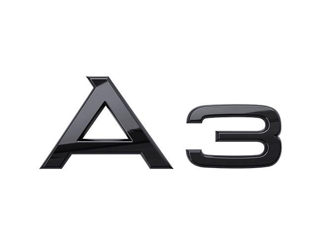 A3 logo i sort højglans til bagklap