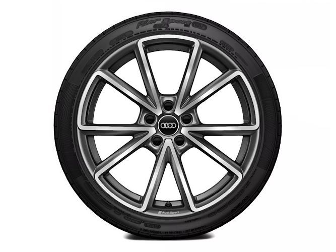 "5-V-eget design, mat titaniumoptik (8,5J x 19""), Audi Sport"